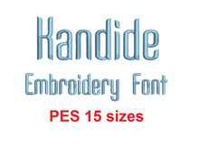 Kandide embroidery font PES format 15 Sizes instant download 0.25, 0.5, 1, 1.5, 2, 2.5, 3, 3.5, 4, 4.5, 5, 5.5, 6, 6.5, and 7 inches