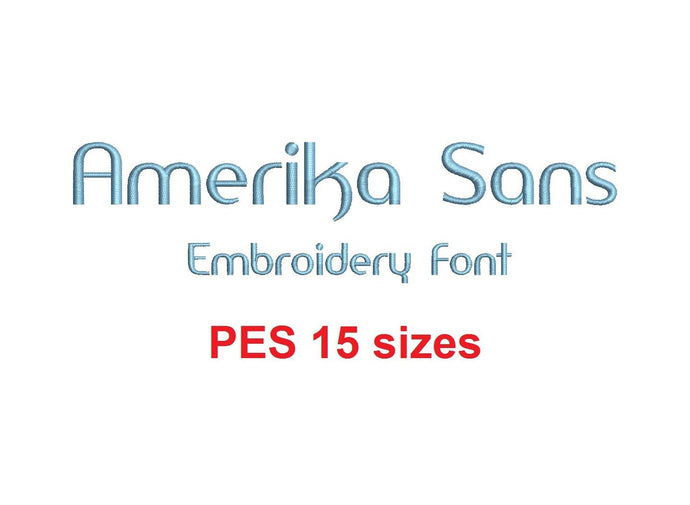 Amerika Sans embroidery font PES format 15 Sizes instant download 0.25, 0.5, 1, 1.5, 2, 2.5, 3, 3.5, 4, 4.5, 5, 5.5, 6, 6.5, and 7 inches
