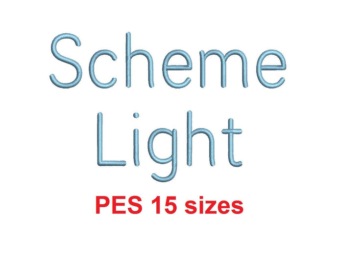 Scheme Light™ embroidery font PES 15 Sizes 0.25 (1/4), 0.5 (1/2), 1, 1.5, 2, 2.5, 3, 3.5, 4, 4.5, 5, 5.5, 6, 6.5, and 7 inches (RLA)
