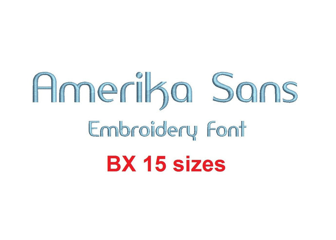 Amerika Sans embroidery BX font Sizes 0.25 (1/4), 0.50 (1/2), 1, 1.5, 2, 2.5, 3, 3.5, 4, 4.5, 5, 5.5, 6, 6.5, and 7 inches