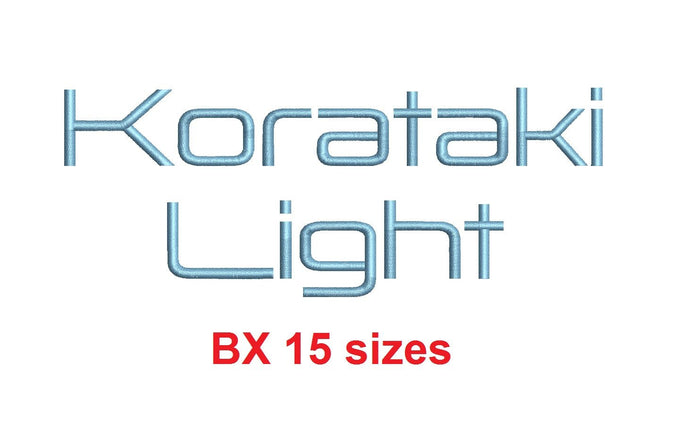 Korataki™ embroidery BX font Sizes 0.25 (1/4), 0.50 (1/2), 1, 1.5, 2, 2.5, 3, 3.5, 4, 4.5, 5, 5.5, 6, 6.5, and 7 inches (RLA)