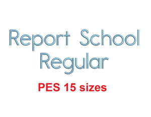 "Report School Regular™ embroidery font PES 15 Sizes 0.25 (1/4), 0.5 (1/2), 1, 1.5, 2, 2.5, 3, 3.5, 4, 4.5, 5, 5.5, 6, 6.5, and 7"" (RLA)"