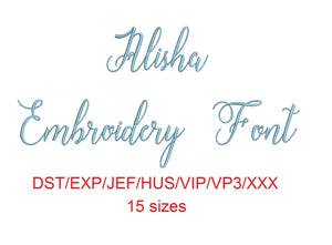 Alisha Script embroidery font dst/exp/jef/hus/vip/vp3/xxx 15 sizes small to large