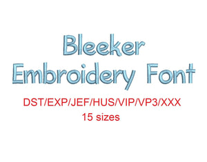 Bleeker™ block embroidery font dst/exp/jef/hus/vip/vp3/xxx 15 sizes small to large (RLA)