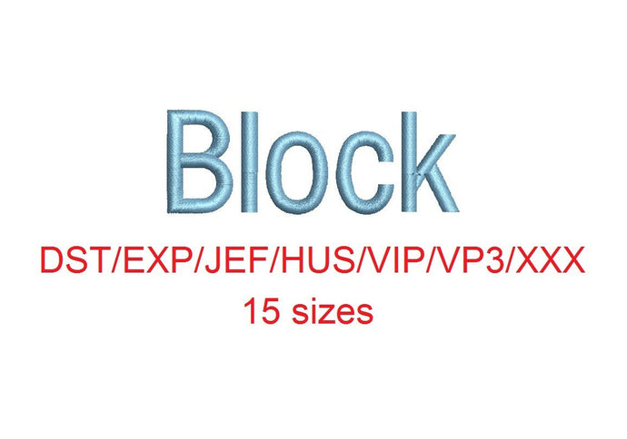 Block embroidery font dst/exp/jef/hus/vip/vp3/xxx 15 sizes small to large