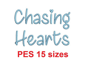Chasing Hearts embroidery font PES format 15 Sizes 0.25 (1/4), 0.5 (1/2), 1, 1.5, 2, 2.5, 3, 3.5, 4, 4.5, 5, 5.5, 6, 6.5, and 7 inches (MHA)