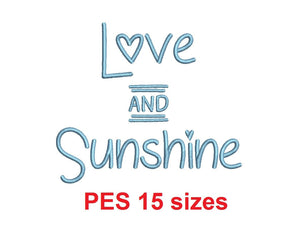 "Love and Sunshine embroidery font PES format 15 Sizes 0.25 (1/4), 0.5 (1/2), 1, 1.5, 2, 2.5, 3, 3.5, 4, 4.5, 5, 5.5, 6, 6.5, and 7"" (MHA)"