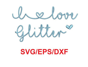 I Love Glitter alphabet svg/eps/dxf cutting files (MHA)