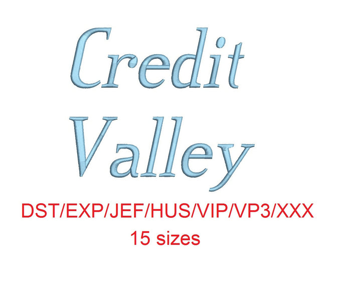 Credit Valley Italic™ embroidery font dst/exp/jef/hus/vip/vp3/xxx 15 sizes small to large (RLA)