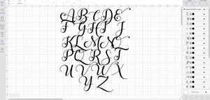 Hugs and Kisses font svg/eps/dxf alphabet cutting files (MHA)