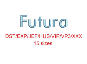 Futura embroidery font dst/exp/jef/hus/vip/vp3/xxx 15 sizes small to large