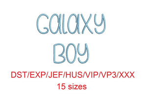 Galaxy Boy embroidery font dst/exp/jef/hus/vip/vp3/xxx 15 sizes small to large (MHA)