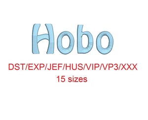 Hobo embroidery font dst/exp/jef/hus/vip/vp3/xxx 15 sizes small to large