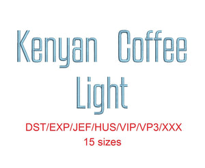 Kenyan Coffee Light™ embroidery font dst/exp/jef/hus/vip/vp3/xxx 15 sizes small to large (RLA)