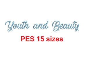 "Youth and Beauty embroidery font PES format 15 Sizes 0.25, 0.5, 1, 1.5, 2, 2.5, 3, 3.5, 4, 4.5, 5, 5.5, 6, 6.5, and 7"" (MHA)"