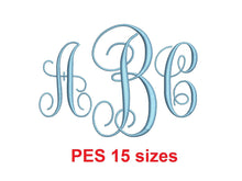 Vine Monogram font PES format Satin Stitches 15 Sizes 0.25 (1/4) up to 7 inches