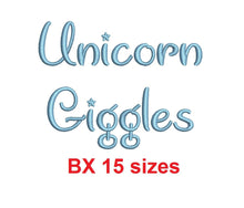 "Unicorn Giggles embroidery BX font Sizes 0.25 (1/4), 0.50 (1/2), 1, 1.5, 2, 2.5, 3, 3.5, 4, 4.5, 5, 5.5, 6, 6.5, and 7"" (MHA)"