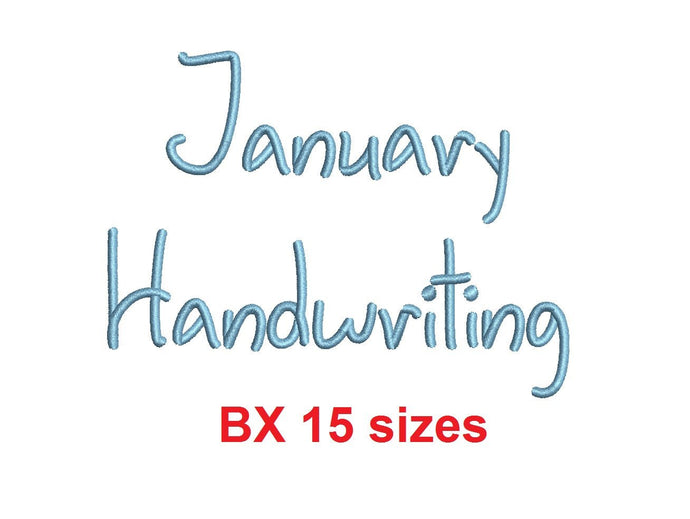 January Handwriting embroidery BX font Sizes 0.25 (1/4), 0.50 (1/2), 1, 1.5, 2, 2.5, 3, 3.5, 4, 4.5, 5, 5.5, 6, 6.5, and 7