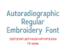 Autoradiographic™ embroidery font dst/exp/jef/hus/vip/vp3/xxx 15 sizes small to large (RLA)
