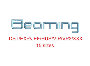 Beaming embroidery font dst/exp/jef/hus/vip/vp3/xxx 15 sizes small to large