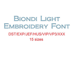 Biondi™ block embroidery font dst/exp/jef/hus/vip/vp3/xxx 15 sizes small to large (RLA)