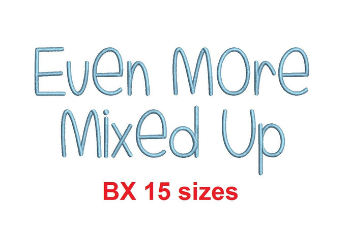 Even More Mixed Up embroidery BX font Sizes 0.25 (1/4), 0.50 (1/2), 1, 1.5, 2, 2.5, 3, 3.5, 4, 4.5, 5, 5.5, 6, 6.5, and 7
