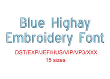 Blue Highway™ block embroidery font dst/exp/jef/hus/vip/vp3/xxx 15 sizes small to large (RLA)
