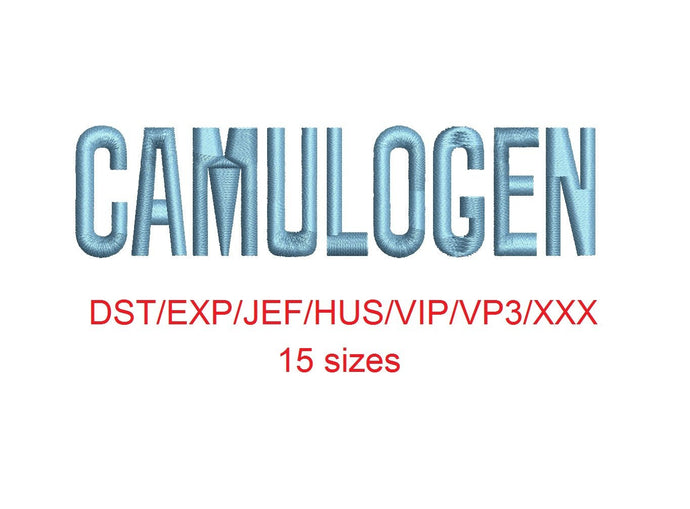 Camulogen™ block embroidery font dst/exp/jef/hus/vip/vp3/xxx 15 sizes small to large (RLA)