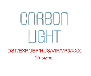 Carbon Light™ block embroidery font dst/exp/jef/hus/vip/vp3/xxx 15 sizes small to large (RLA)