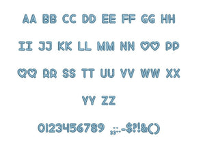 "Love Song embroidery font PES format 15 Sizes 0.25 (1/4), 0.5 (1/2), 1, 1.5, 2, 2.5, 3, 3.5, 4, 4.5, 5, 5.5, 6, 6.5, and 7"" (MHA)"