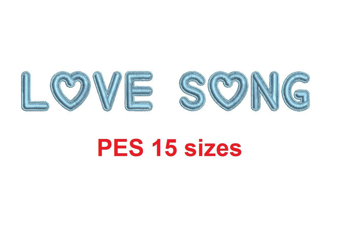 Love Song embroidery font PES format 15 Sizes 0.25 (1/4), 0.5 (1/2), 1, 1.5, 2, 2.5, 3, 3.5, 4, 4.5, 5, 5.5, 6, 6.5, and 7