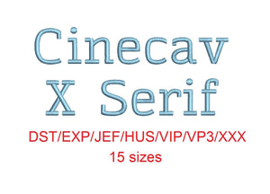 Cinecav X Serif™ block embroidery font dst/exp/jef/hus/vip/vp3/xxx 15 sizes small to large (RLA)