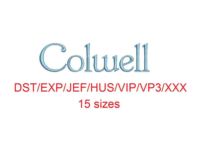 Colwell embroidery font dst/exp/jef/hus/vip/vp3/xxx 15 sizes small to large