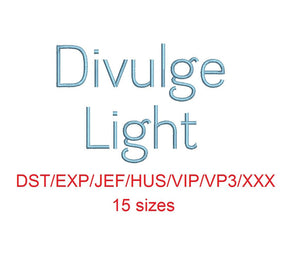 Divulge Light™ embroidery font dst/exp/jef/hus/vip/vp3/xxx 15 sizes small to large (RLA)