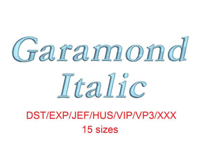 Garamond Italic embroidery font dst/exp/jef/hus/vip/vp3/xxx 15 sizes small to large