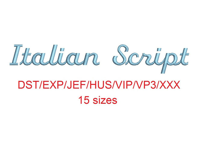 Italian Script embroidery font dst/exp/jef/hus/vip/vp3/xxx 15 sizes small to large