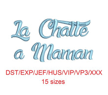 La Chatte a Maman embroidery font dst/exp/jef/hus/vip/vp3/xxx 15 sizes small to large