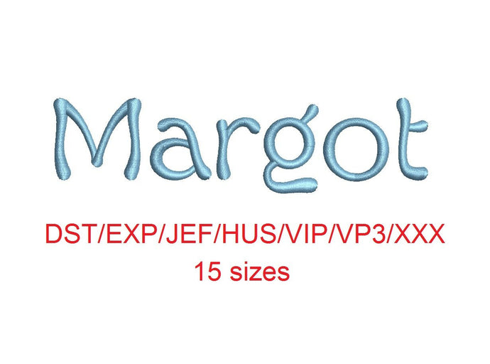Margot embroidery font dst/exp/jef/hus/vip/vp3/xxx 15 sizes small to large