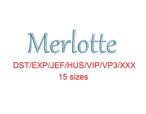 Merlotte embroidery font dst/exp/jef/hus/vip/vp3/xxx 15 sizes small to large