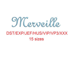 Merveille embroidery font dst/exp/jef/hus/vip/vp3/xxx 15 sizes small to large