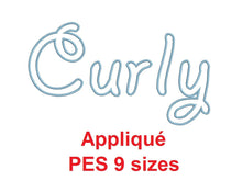 Curly Appliqué embroidery font PES format 9 Sizes instant download