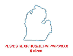 Michigan embroidery applique pes/dst/exp/jef/hus/vip/vp3/xxx 9 Sizes