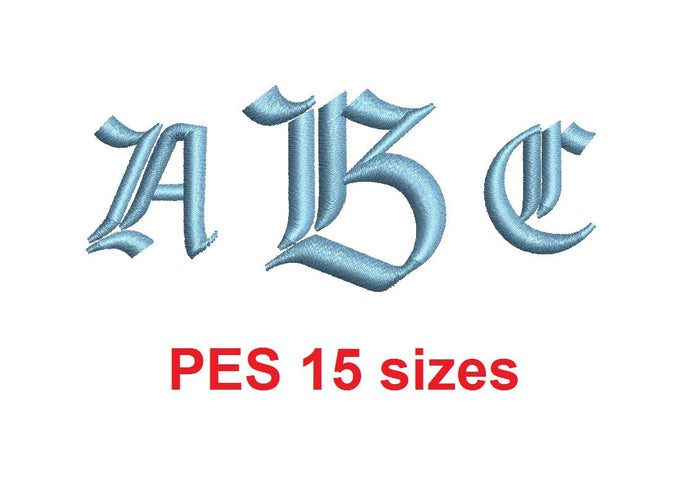 Amboise Monogram font PES format Satin Stitches 15 Sizes 0.25 (1/4) up to 7 inches