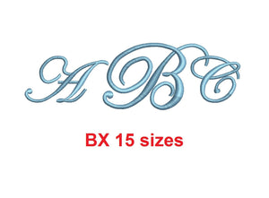 Edwardian Monogram embroidery BX font Satin Stitches 15 Sizes 0.25 (1/4) up to 7 inches