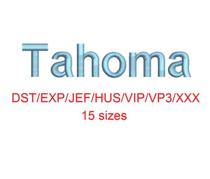 Tahoma embroidery font dst/exp/jef/hus/vip/vp3/xxx 15 sizes small to large