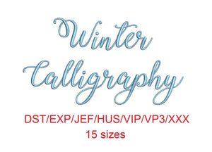 Winter Calligraphy embroidery font dst/exp/jef/hus/vip/vp3/xxx 15 sizes small to large (MHA)