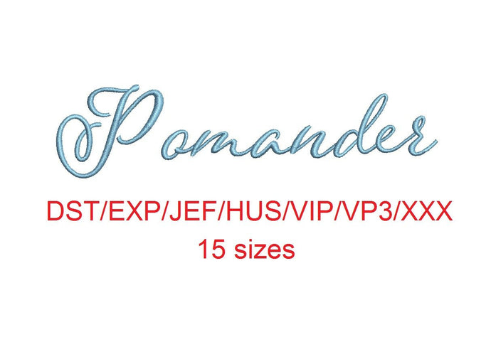 Pomander embroidery font dst/exp/jef/hus/vip/vp3/xxx 15 sizes small to large