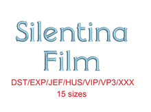 Silentina Film™ embroidery font dst/exp/jef/hus/vip/vp3/xxx 15 sizes small to large (RLA)