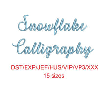 Snowflake Calligraphy font dst/exp/jef/hus/vip/vp3/xxx 15 sizes small to large (MHA)