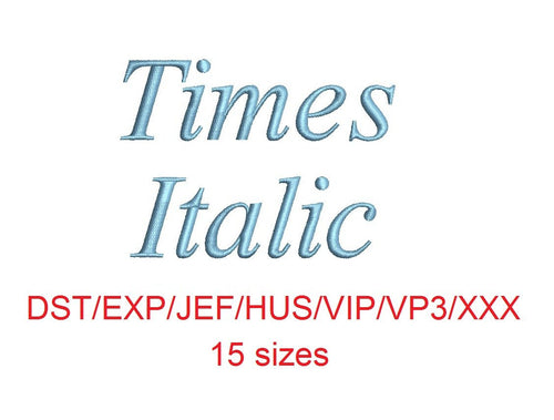 Times Italic embroidery font dst/exp/jef/hus/vip/vp3/xxx 15 sizes small to large